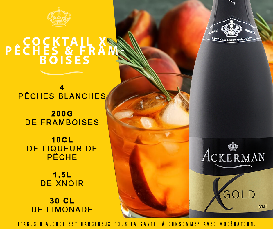 Cocktail Xgold pêches et framboises